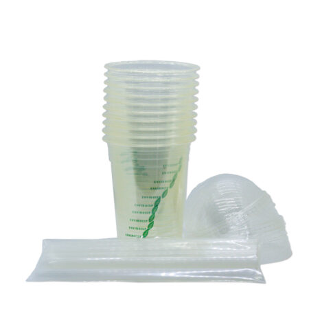 10 Pack 500 ml Biodegradable Container Combo: Cups, Lids and Straws